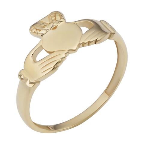 Fremada 14k Yellow Gold Claddagh Ring