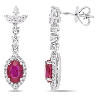 Miadora 14k White Gold Ruby 3/4ct TDW Diamond Floral Dangle Earrings