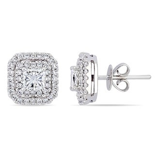 Miadora 14k White Gold 1-5/8ct TDW Radiant-Cut Diamond Halo Stud Earrings
