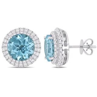 Miadora 14k White Gold Sky-Blue Topaz 4/5ct TDW Diamond Halo Stud Earrings