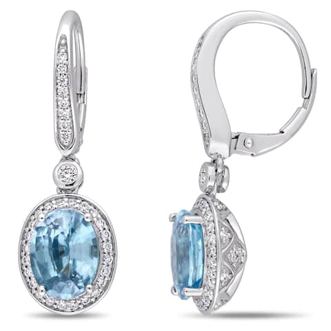 Miadora 14k White Gold 3/4ct TDW Diamond and Blue Zircon Halo Dangle Earrings