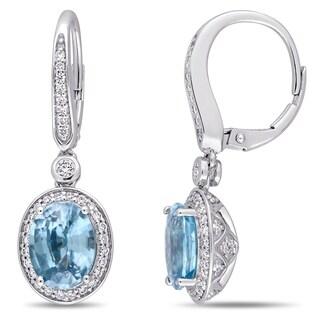 Miadora 14k White Gold 3/4ct TDW Diamond and Blue Zircon Halo Dangle Earrings
