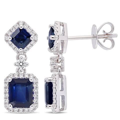 Miadora 14k White Gold Blue Sapphire 3/8ct TDW Diamond Halo Dangle Earrings