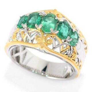Michael Valitutti Palladium Silver Emerald Five-Stone Graduated Band Ring