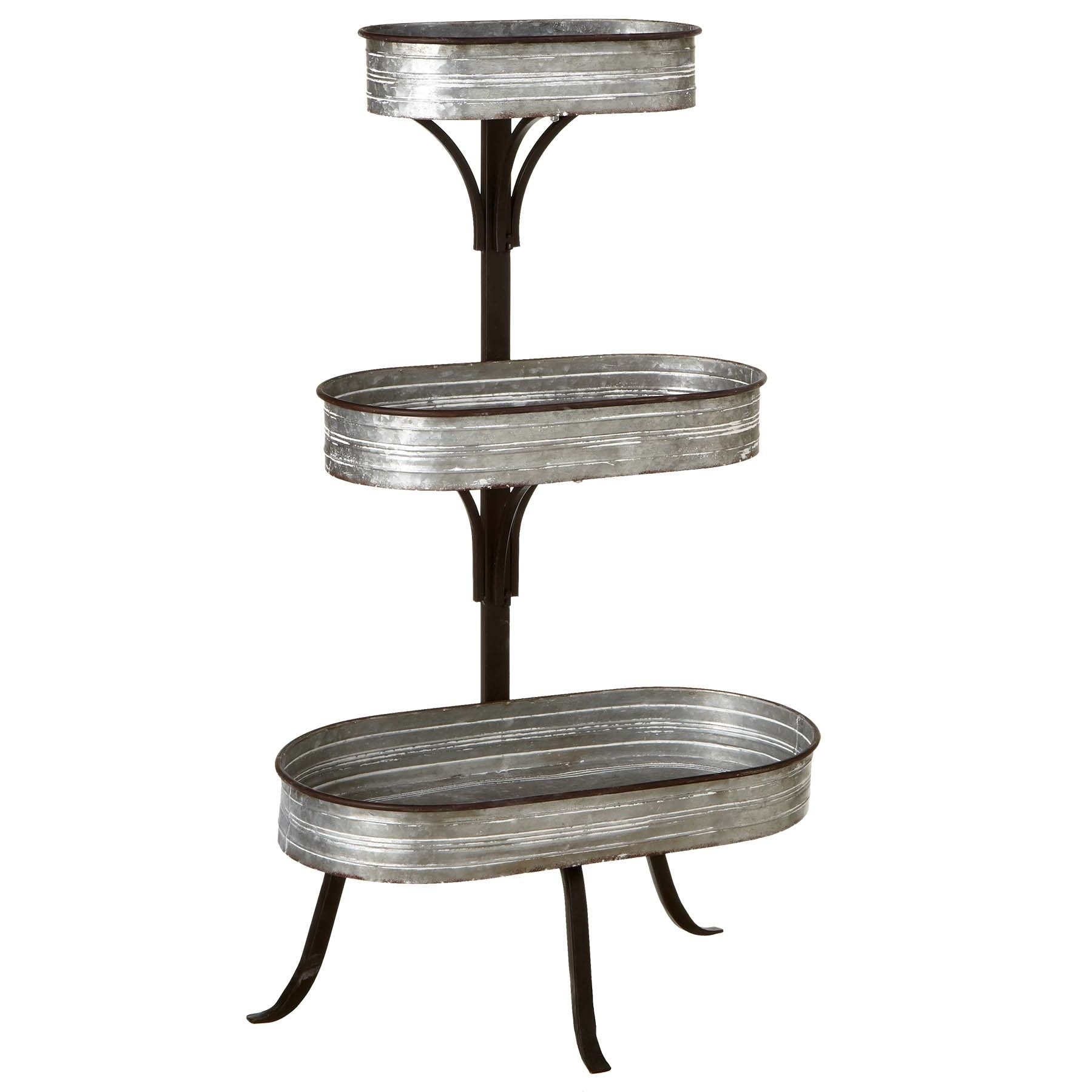Shop Three Tier Galvanized Plant Stand Overstock 22797970