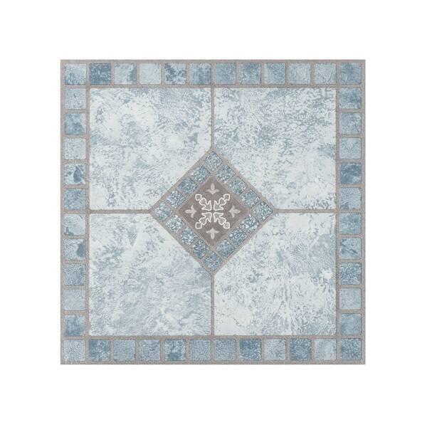 Portfolio 12x12 2 0mm Self Adhesive Vinyl Floor Tile - Blue Diamond - 9  Tiles/9 sq  ft