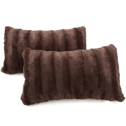 Buy Brown Faux Fur Throw Pillows Online At Overstock