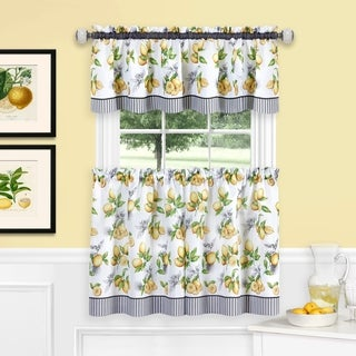 Lemon Drop Tier and Valance Window Curtain Set - Yellow
