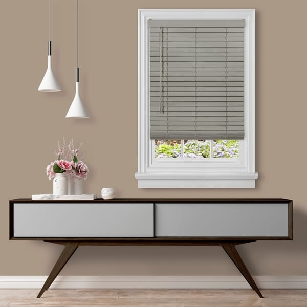 "Cordless GII Madera Falsa 2"" Faux Wood Blind - White. Opens flyout."