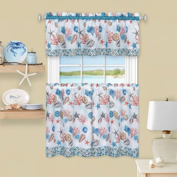 Coastal Tier and Valance Window Curtain Set - Blue