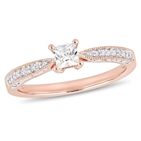 Miadora Rose Plated Sterling Silver Created White Sapphire Diamond Engagement Ring