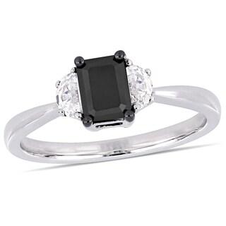 Miadora 10k White Gold with Black Rhodium 3/4ct TDW Black Diamond & White Sapphire 3-Stone Ring