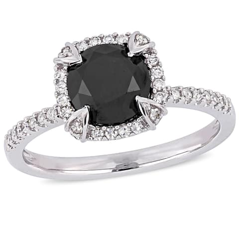 Miadora 10k White Gold 2ct TDW Black and White Diamond Halo Engagement Ring