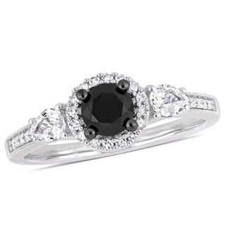 Miadora 10k White Gold with Black Rhodium 5/8ct TDW Black & White Diamond White Sapphire Ring
