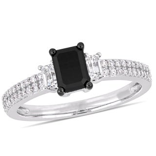 Miadora 10k White Gold with Black Rhodium 4/5ct TDW Black and White Diamond White Sapphire Ring