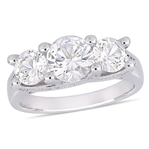 Miadora 10k White Gold Created Sapphire & Diamond 3-Stone Engagement Ring