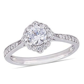 Miadora 10k White Gold Created White Sapphire & 1/10ct TDW Diamond Engagement Ring
