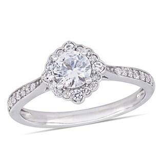 Miadora 10k White Gold Created White Sapphire & 1/10ct TDW Diamond Engagement Ring