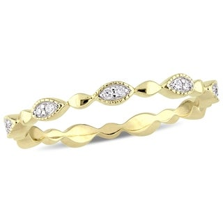 Miadora 10k Yellow Gold 1/10ct TDW Diamond Stackable Infinity Eternity Band