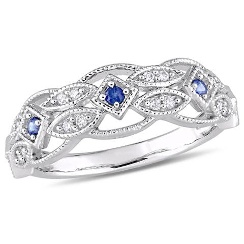 Miadora 10k White Gold Sapphire and 1/8ct TDW Diamond Vintage-Inspired Band
