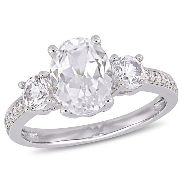 Miadora 10k White Gold Created White Sapphire & Diamond 3-Stone Engagement Ring. Opens flyout.