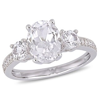 Miadora 10k White Gold Created White Sapphire & Diamond 3-Stone Engagement Ring