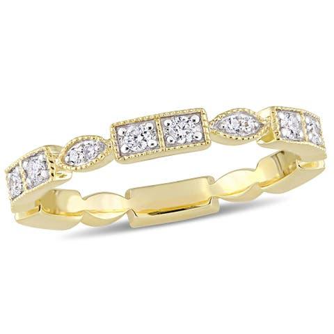 Miadora 10k Yellow Gold 1/3ct TDW Diamond Stackable Eternity Band