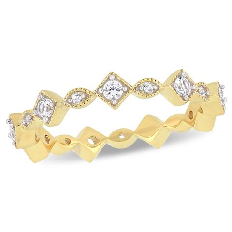 Miadora 10k Yellow Gold Created White Sapphire Stackable Infinity Eternity Band