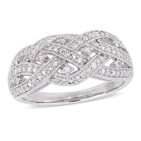 Miadora Sterling Silver 1/4ct TDW Diamond Crossover Ring