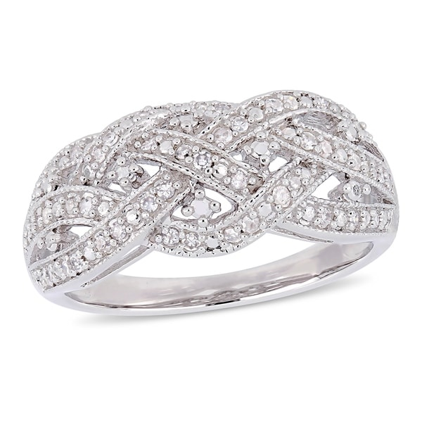 Miadora Sterling Silver 1/4ct TDW Diamond Crossover Ring. Opens flyout.
