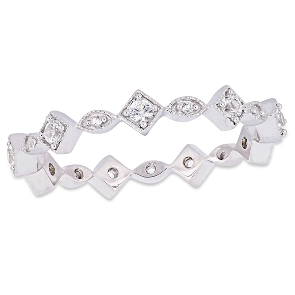 54039fb698daf Shop Miadora 10k White Gold Created White Sapphire Stackable ...