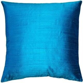 Pillow Decor - Sankara Peacock Blue Silk Throw Pillow 16x16