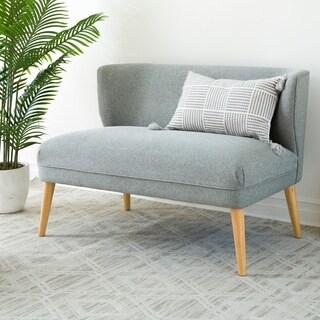 Abbyson Oliver Grey Mid Century Fabric Settee Loveseat