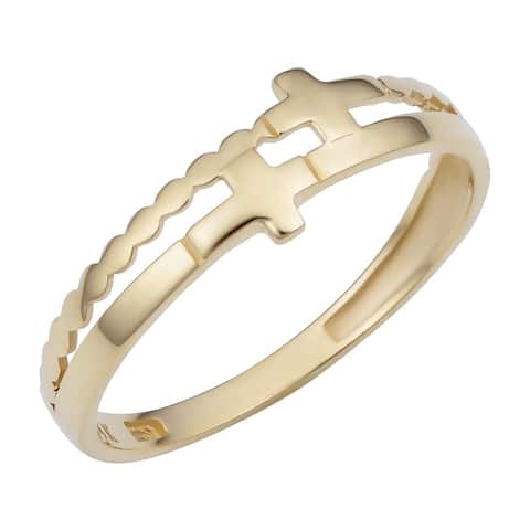 14k Yellow Gold Double Cross Ring