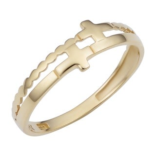 Fremada 14k Yellow Gold Double Cross Ring
