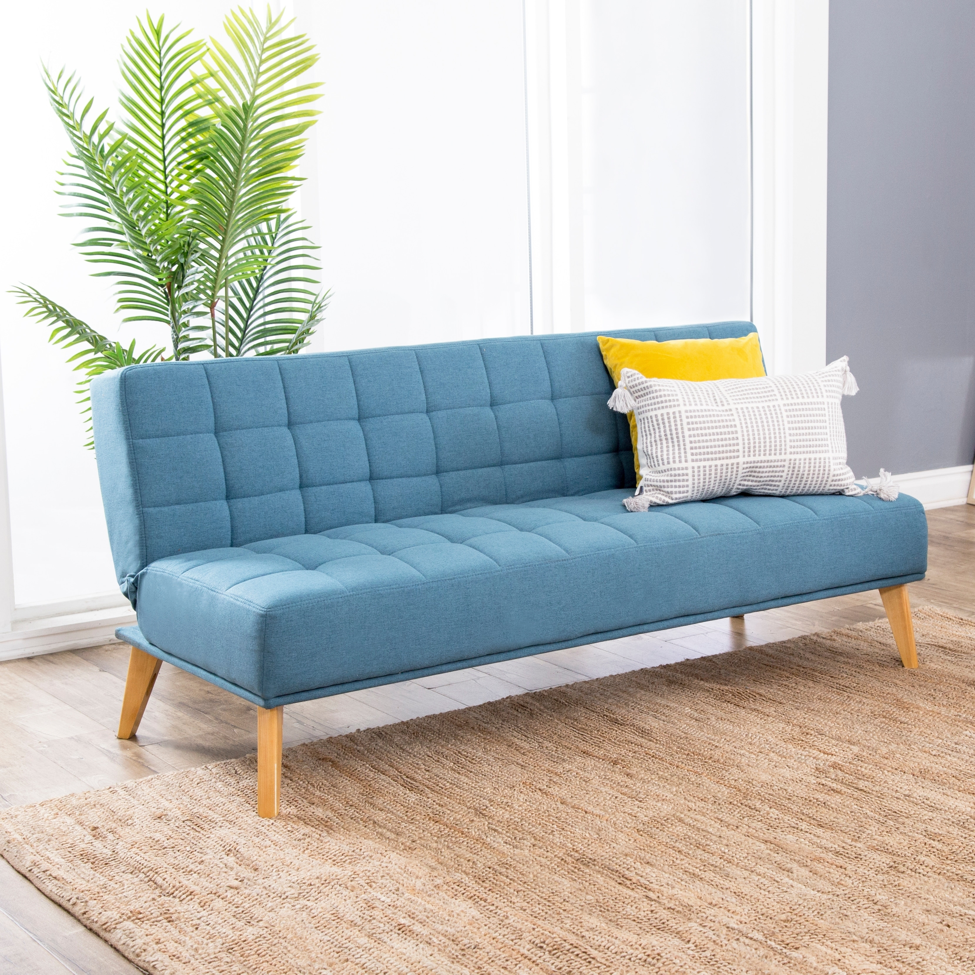 Details about Abbyson Carson Mid Century Tufted Fabric Convertible Sofa  Futon
