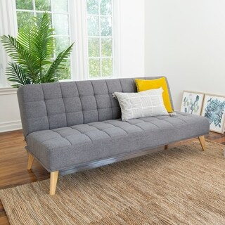Abbyson Carson Mid Century Tufted Fabric Convertible Sofa Futon