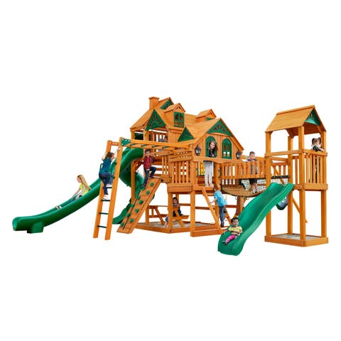Gorilla Playsets Empire Extreme Wooden Play Set with Monkey Bars and Clatter Bridge
