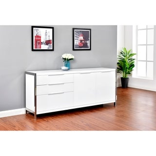Best Quality Furniture White Lacquer 2-door, 3-drawer Cabinet