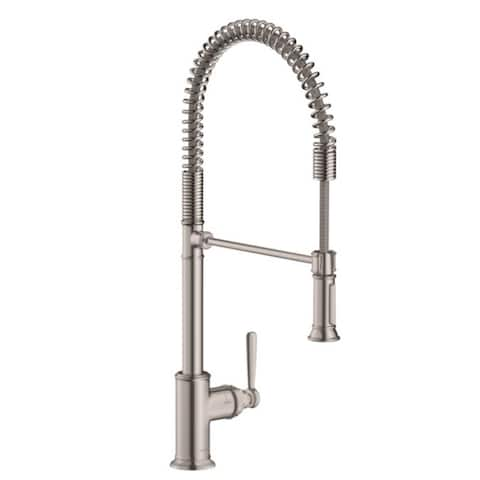 Hansgrohe AXOR Montreux 2-Spray Semi-Pro Kitchen Faucet, 1.75 GPM, Steel Optic (16582801)