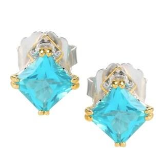 Michael Valitutti Palladium Silver Princess Cut Paraiba Topaz & Swiss Blue Topaz Ring