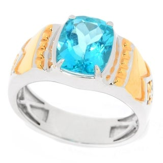 Michael Valitutti Men's Palladium Silver Paraiba Color Topaz Fleur-de-Lis Ring
