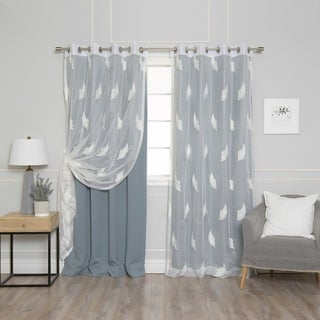 Aurora Home Mix & Match Leaf Embroidered and Blackout 4 Piece Curtain Panel Set - 52 x 84