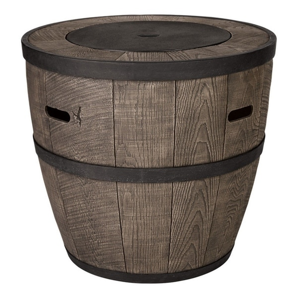 Living Accents Whiskey Barrel Stone Propane Fire Pit - Shop Living Accents Whiskey Barrel Stone Propane Fire Pit - Free