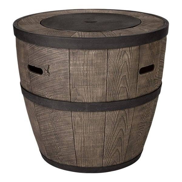Shop Living Accents Whiskey Barrel Stone Propane Fire Pit - Free Shipping  Today - Overstock.com - 22798358 - Shop Living Accents Whiskey Barrel Stone Propane Fire Pit - Free