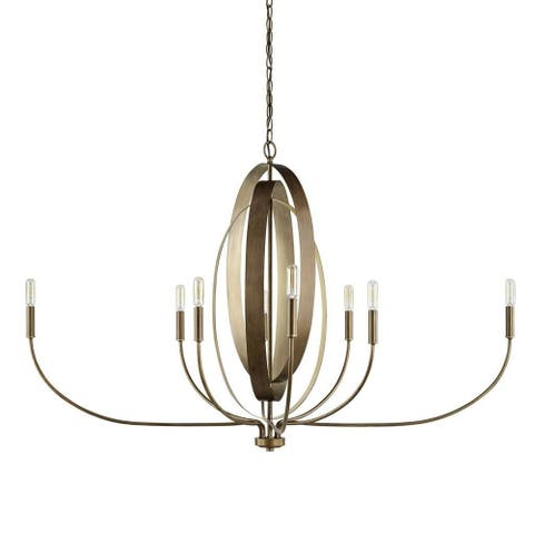 Dahlia 8-light Silver and Bronze Chandelier