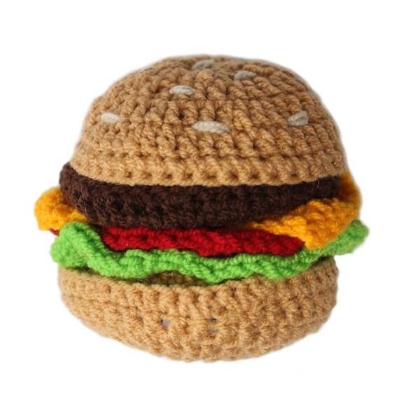 Handmade Knit Rattle Hamburger (Kyrgyzstan)