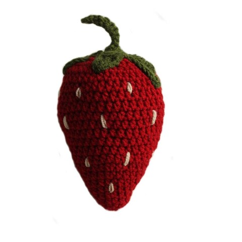 Handmade Knit Rattle Strawberry (Kyrgyzstan)