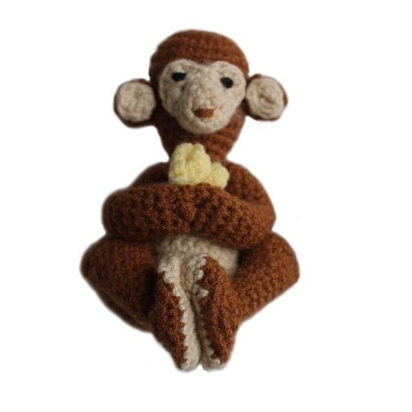 Handmade Knit Rattle Monkey (Kyrgyzstan)