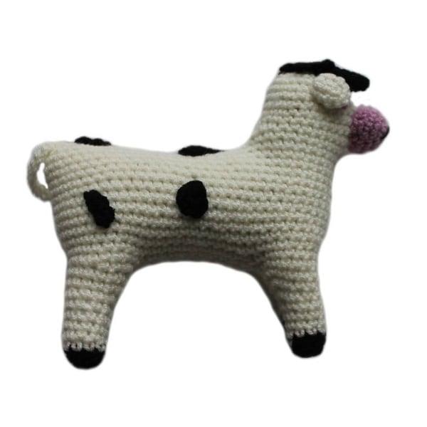 Handmade Knit Rattle Cow (Kyrgyzstan)